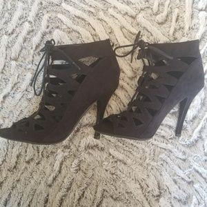Chinese laundry tie zip black pump stiletto heel